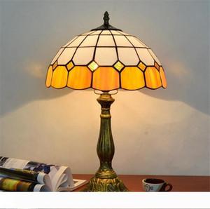 lampe de table de style vitrail Tiffany salon chambre lampe de chevet bureau simple verre orange lampes TF035