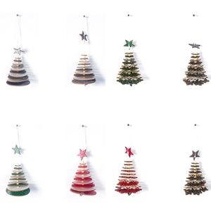 AFBC 8Pcs Wood Slices DIY Christmas Pendants Ornaments with Hang String Xmas Tree Pendants Home Party Decorations Kids Gift Hang