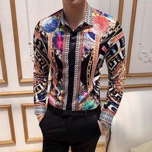 Classic Dress Shirts Single-breasted Long Sleeve Casual Men Clothing Harajuku Medusa shirt Slim Fashion Business Men Shirts M-3XL