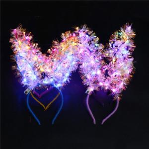 LED Luminous Rabbit Ear Hair Sticks Girls Flashing Feather Headdress Hair Hoop Toy Rabbit Bunny Ears Headband Birthday Party Hair Bands INS