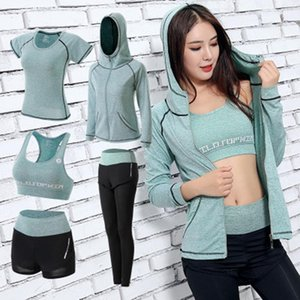Women Yoga Set Gym Fitness Clothes Tennis Shirt+Pants Running Tight Jogging Workout Yoga Leggings Sport Suit plus size Y200328