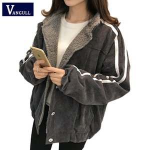 Vangull Women Jacket Winter New Cotton Lamb Velvet Thick Coat 2020 Autumn Casual Female Long Sleeve Side Striped Loose Outerwear
