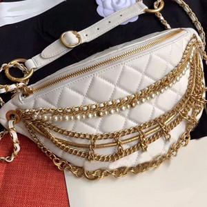 Paquete de la cintura del pecho del paquete bolsos monederos Monedero Perlas de alta calidad Serie Egipto piezas de metal granos de la perla bolsos de hombro de la cadena del cuero auténtico