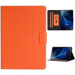 Kart Yuvaları Tutucu Uyku / Uyandırma Fonksiyonu ile Samsung Galaxy Tab 10.1 T580 / T585 Katı Renk Yatay çevir Kılıf için