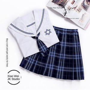 Student JK Freundinnen High School Student Uniform Uniform Seemann Schule uniformstyle Plaid Matrosenanzug L50