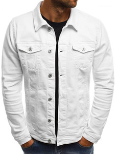 Mode Mens Designer Jacken Teenager beiläufige Outwear Winter Herbst Mens Jean Jacken Solid Color-Revers-Ansatz lange Hülsen-dünne