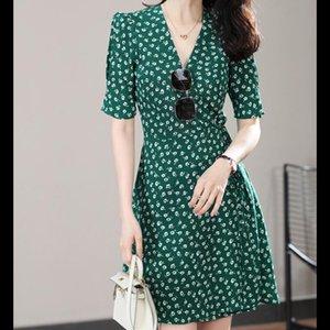 2020 New Summer Green Mini Dress V-neck Wrap Floral Print Short-sleeved Lady Slim Short Dresses Holiday Beach Sundress