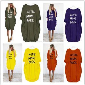 Frauen-Sommer-beiläufiges Kleid Plus Size Kleidung Mom Ehefrau Boss Dame Loose Taschen Designer-Kleider 4XL 5XL Kleidung