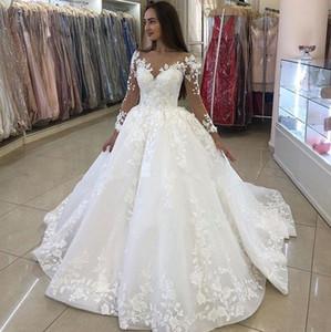 2021 Beautiful Princess Ball Gown Wedding Dresses Lace Applique Long Sleeves White Bridal Gown Plus Size Vestidos De Noiva Unique