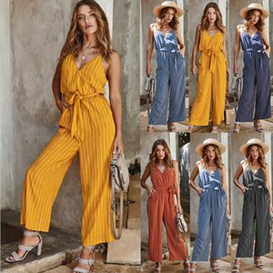 Spot jumpsuit 2020 hot-selling explosive pants striped V-neck sexy casual Street pocket pants, support mixed batch