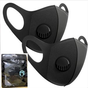 Diseñador de la mascarilla de respiración con máscaras Válvulas reutilizable lavable adultas esponja facial protectora Negro máscara con la manera Embalaje de la nave 1 día