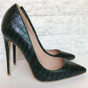 Sxzyqfw 2019 Frühling-neue Frau High Heels Dark Green Steinmuster-Frauen-Pumpen-Stilett-Schuhe für Frauen 12CM Dame Büro Schuhe T200716