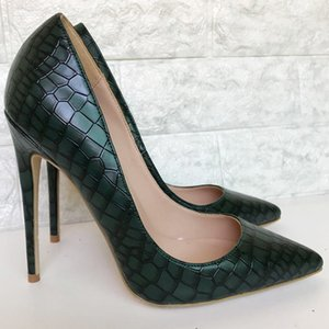 Sxzyqfw 2019 봄 새로운 여성 하이힐 다크 그린 스톤 패턴 여성은 여성 12CM 레이디 사무실 신발 T200716 위해 하이힐 신발 펌프