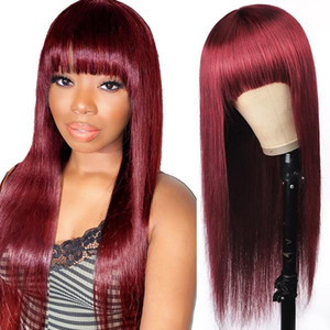 Allove 4 27 4# Orange ginger 27# Straight Human Hair Wigs with Bangs Peruvian Indian Hair Malaysian Colored Ombre Color None Lace Wigs