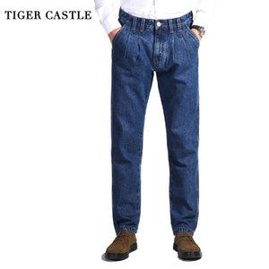 TIGER CASTELO Mens 100% algodão grosso jeans Pants Moda Azul Baggy macacões macho clássico longa de qualidade Primavera Outono Jeans