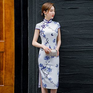 New Arrival Oriental Qipao Pretty Cheongsam Traditional Chinese Clothing Flower Women Qipao 4XL Plus Size Knee Dress
