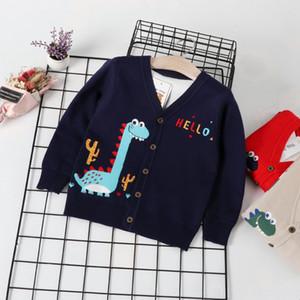lIBMx Boyssweater cardigan V-neck small dinosaur buckle knitwear coat Korean style Jumpers children's coat2019 autumn new children's clothin