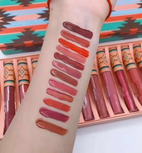 Maquillaje famosa M Marca de Navidad del lápiz labial líquido Set Barra de labios mate de 12 colores de labios del kit 12pcs / set Colección Lip Gloss Lip