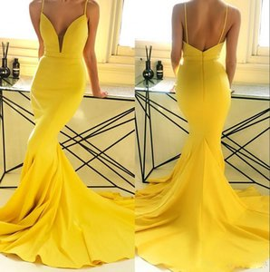 Sexy Cheap Simple Yellow Spaghetti Straps Mermaid Prom Dresses Backless Ruched Sweep Train Party Evening Gowns Vestidos Formal Dress