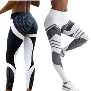 Yoga Pants Women Gym Leggings Workout Weibliche High Waist Elastic Striped Tights Sport-Gamaschen-Frauen-Hosen für Fitness