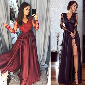 Women Lace Long Sleeve V Neck Dress Evening Party Ball Prom Gown Formal High Waist Maxi