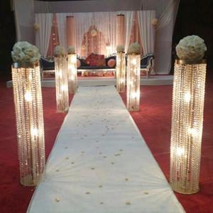 6 adet / grup Yeni Varış 100 cm Tall 22 cm Çapı Akrilik Kristal Düğün Yol Kurşun Düğün Centerpiece Olay Parti Dekorasyon