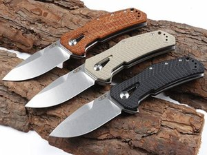 New Arrival OEM ZT0308 Ball Bearing Flipper Folding Knife D2 Stone Wash Drop Point Blade G10 Wood Handle With Retail Box Package