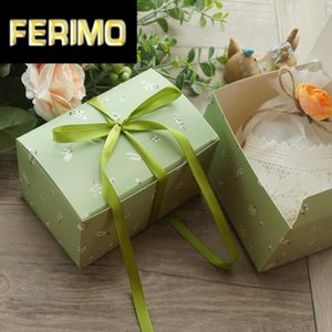 Light Green White Flower Design 10pcs 15*10*9 Cm Paper Box Candy Cookie Jar Candle Wedding Party Birthday DIY Gift Packaging