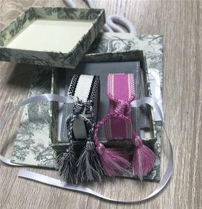 Mode Stoff Armband Frauen D Baumwollschmucksachen Brief Signature Stickerei Armband Woven Bangle Quaste Schnürarmband Für Geschenk