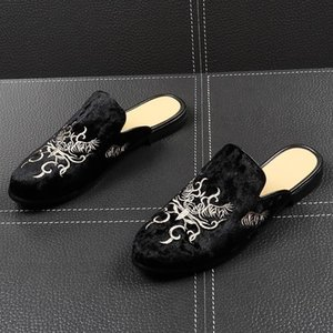 Fairy2019 Male Slipper Set Foot Leather Shoes Trend Embroidery Doug Youth Half Support Baotou Dawdler Shoe Sandals