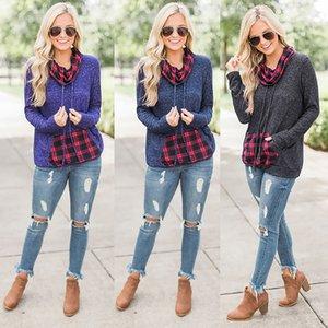 2018 new design large size casual T-shirt stitching pocket sweater fashion lattice pile collar shirt 9062