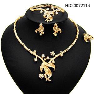 Yulaili Fashion Shiny Rhinestones Necklace Earrings Bangle Ring for Women Elegant Luxury Gold Color Design Wedding Jewelry Sets