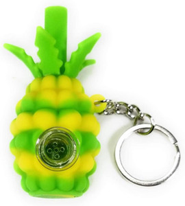 2020 carton Wholesale silicone pineapple smoking pipe Hookahs hand pipes with glass bowl tobacco Oil Rigs Portable with keychain