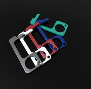 New 6 color Metal Safety Touch-less EDC Door Opener Stylus Key Hook Hands Free Door Handle Stylus Key chain