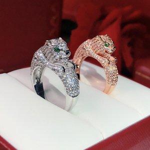 venda hot money animal Anel Leopard Personalidade neutro Twinkle Superior celebridade qualidade amor Anéis Olhos embutidos com cristal verde Punk