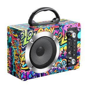 أحدث خشبي بلوتوث اللاسلكية سماعات محمولة بطاقة في الهواء الطلق FM AUX الصوت HIFI مضخم صوت بلوتوث مكبرات الصوت MP3 مشغل موسيقى الصوت كبيرة
