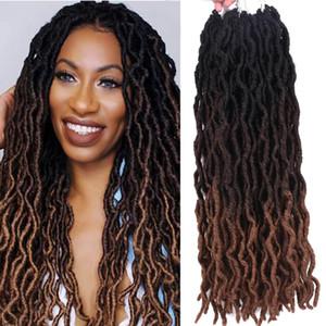 Wave cabelo ombre encaracolado crochet trança sintética extensões de cabelo goddess faux locs 18 polegadas macias dreadlocks dreadlocks cabelo para marley
