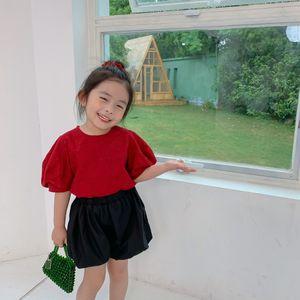 2020 new children's clothing Wine Lace girls French elegant wine red lace shirt short-sleeved shirt