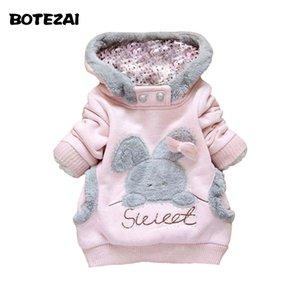 Moda bambini vestiti del fumetto Coniglio Pile Cappotti abiti di moda ragazza / giacca con cappuccio / Inverno Coat Roupa infantil
