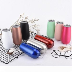 Egg Cups Stainless Steel Wine Tumblers Mug with Lids Unbreakable Champagne Wine Glass Car Insulated Vacuum Cup Bar 9 Color Wholes WZW-YW3784