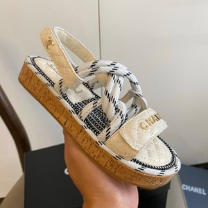 New designer slippers sandals Rome Women Shoes Summer holiday Slippers Hemp Rope Flat Lace Up Cross-tied Slippers Open Toe Sandals Sandalia