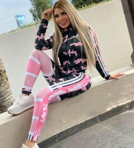 12 color classics Print Sport Suits Tracksuit 2020 new sexy Women zipper Long sleeved tops +Tight pants Outfit 2 Piece Set Jogging suit