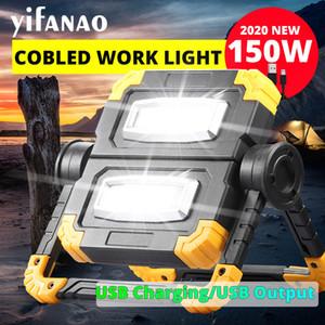 150W USB de carregamento Luz de trabalho 4000lm Folding Rotary Outdoor portátil principal dobro COB Anti-queda Flood Luz Searchlight Campe