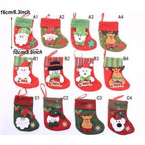 Sac cadeau de Noël de Noël Paillettes de bas de bas de bonhomme de neige du Père Noël Elk Arbre Décoration de Noël Chaussettes Bas DH0217