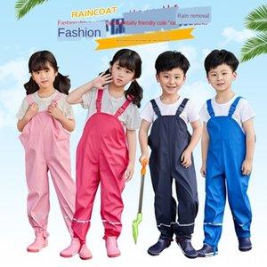 PU straps pants season Rain gear Children's rain gear kindergarten children's one-piece waterproof and breathable outdoor assault