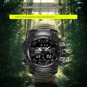 Adishi luminous multifunctional compass outdoor mountaineering whistle Compass Whistle watch Flint waterproof electronic men's watch