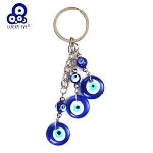 Lucky Eye Blue Glass Evil Eye Charms Keychain Tassel Glass Pendent Key Chain Alloy Car Key Chain Fashion Jewelry Gifts EY5043