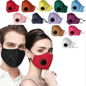 Mascarillas color puro con válvula de algodón de la cara máscara de la máscara de la cara estereoscópica reutilizable a prueba de polvo a prueba de viento y la neblina Impreso Mas BWA590
