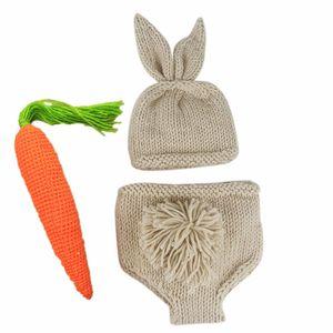 Tapas de bebé Pantalones cortos Set de zanahoria recién nacidos ropa del bebé muchachos de las niñas de punto de ganchillo traje Photo Fotografía Accesorios Prop