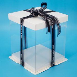 17 * 17 * 20.5CM عالية الجودة شفاف ساحة واضح صندوق كعكة لعيد ميلاد كعكة 6 بوصة حزمة صندوق
